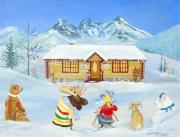 Log Cabin Art Paintings - The Painting Lesson by Virginia Ann Hemingson
