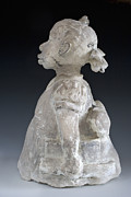 Sculpture Ceramics Originals - The Problem She Lives With by Sharon Norwood