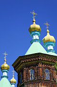 Kyrgyzstan Photos - The Russian Orthodox Holy Trinity Cathedral at Karakol in Kyrgyzstan by Robert Preston