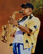 Musician Portrait Painting Originals - The Sax Player by Jason M Silverman