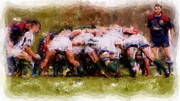 Rugby Union Posters - The Scrum Poster by Brian Orlovich