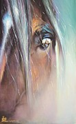 Mustang Pastels Metal Prints - The Sentinel Metal Print by Sally Buffington