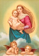 Christian Sacred Framed Prints - The Sistine Madonna Framed Print by Raphael