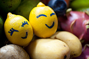 Mango Framed Prints - The Smiling Lemons Framed Print by Mohd Shukur Jahar