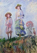 Sun Hats Prints - The Walk Print by Claude Monet
