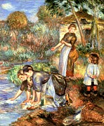 Women Children Framed Prints - The Washerwoman Framed Print by Pierre Auguste Renoir