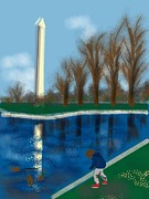 Washington Monument Paintings - The Washington Monument by Lois Ivancin Tavaf