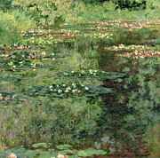 Fresh Flowers Paintings - The Waterlily Pond by Claude Monet
