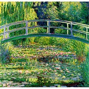 Waterlilies At Giverny Framed Prints - The Waterlily Pond With The Japanese Bridge Framed Print by Claude Monet