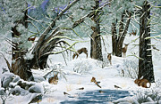 Chipmunks Paintings - They Said It Wouldnt Snow by Jennifer Lake