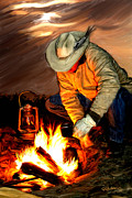 Cowboy Digital Art Prints - Thoughts of Home Print by Robert Albrecht