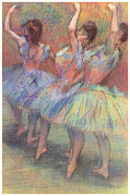 Three Pastels Metal Prints - Three Dancers Metal Print by Edgar Degas