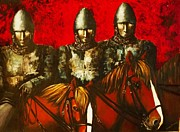 Templar Paintings - Three Knights by Kaye Miller-Dewing
