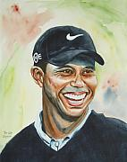 Tiger Woods Paintings - Tiger Woods by Brian Degnon