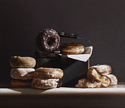 Chocolate Paintings - Tin With Donuts by Larry Preston