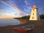 Lighthouse At Sunset Prints - Titanic Solace Print by James Charles