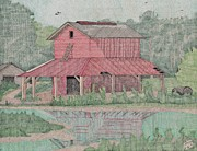 Outbuildings Drawings Posters - Tobacco Barn Poster by Calvert Koerber