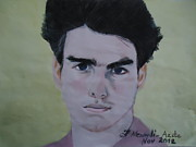 Star Drawings Posters - Tom Cruise Poster by Fladelita Messerli-