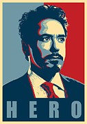Red Digital Art Posters - Tony Stark Poster by Caio Caldas