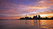 Harbourfront Posters - Toronto Harbour Sunset Poster by Charline Xia