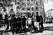 Discord Prints - tourists tour group outside casa batllo modernisme style building in Barcelona Catalonia Spain Print by Joe Fox
