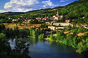Country Setting Posters - Town of Sisteron in Provence Poster by Elena Elisseeva