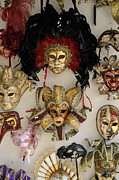 Tourist Destinations Prints - Traditional Venetian masks Print by Sami Sarkis