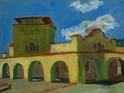 Railroads Paintings - Train Station Raton NM by Katrina West