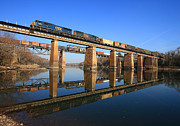 Train On Bridge Prints - 2 Trains 2 Trestles Print by Joseph Hinson