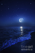 Tranquil Ocean At Night Against Starry Print by Evgeny Kuklev