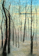 Atmospheric Drawings Prints - Treescape - Evening Print by Vivian ANDERSON