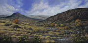Mountain Valley Painting Framed Prints - Tres Piedras Framed Print by Ricardo Chavez-Mendez