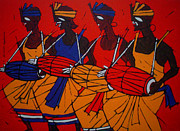 Tribal Art Gallery Paintings - Tribal Dance by Jiaur Rahman