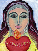 Sacred Art Paintings - Triumphant and Immaculate Heart of Mary by Danielle Tayabas