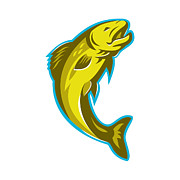 Trout Digital Art - Trout Fish Jumping Retro by Retro Vectors
