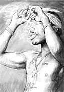 All American Drawings Framed Prints - Tupac shakur art drawing sketch portrait Framed Print by Kim Wang