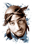 Featured Portraits Posters - Tupac Shakur colour drawing art poster Poster by Kim Wang