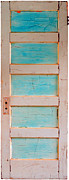 Found Object Art Sculpture Framed Prints - Turquoise Doorway and Ladder to the Sky Framed Print by Asha Carolyn Young
