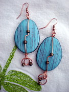 Copper Jewelry Acrylic Prints - Turquoise Egg Drop Earrings Acrylic Print by Beth Sebring