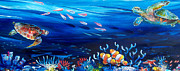 Ocean Turtle Paintings - Turtle Reef by Deb Broughton