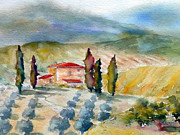 Wine Country Watercolor Paintings - Tuscan Landscape by Carolyn Jarvis
