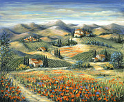Mountains Posters - Tuscan Villa and Poppies Poster by Marilyn Dunlap