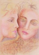 Faces Pastels - Twin Flame by Denise Fulmer