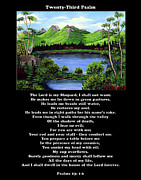 Landscape Mountain Trees Fisherman Art - Twin Ponds and 23 Psalm on Black by Barbara Griffin