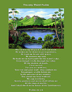 Landscape Mountain Trees Fisherman Art - Twin Ponds and 23 Psalm on Green by Barbara Griffin