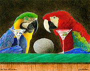 Macaw Painting Framed Prints - Two Birds With One Stone... Framed Print by Will Bullas