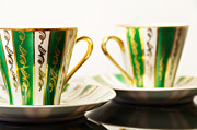 Green Color Ceramics Prints - Two Coffee Cups Print by Aleksey Tugolukov