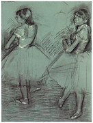 Ballet Dancers Drawings Framed Prints - Two Dancers Framed Print by Edgar Degas