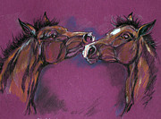 Horse Pastels Posters - Two Foals Playing Poster by Angel  Tarantella