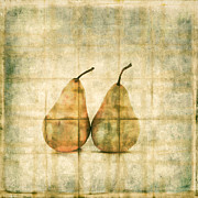 Gauze Posters - Two Yellow Pears on Folded Linen Poster by Carol Leigh